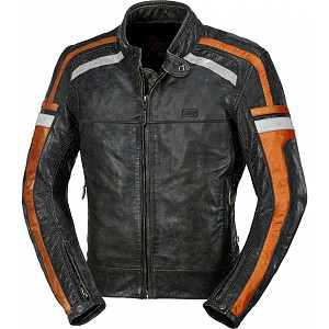 ATA HD Riverside leather mc skinnjacka  ORANGE 90125