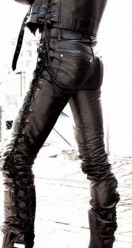 Skinny Custom Leather mc byxa